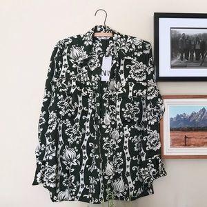 Zara Floral Print Shirt With Jewel Button